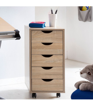WOHNLING Rollcontainer MINA 33 x 64 x 38 cm MDF-Holz 5 Schubladen sonoma Home €65.28Wohnling -20%Home €81.60